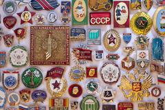 Old Soviet Regime Badges - Russia - stock photo