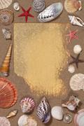 Seashell Border - Space for text Stock Photos