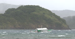 Fishing Boat Sails In Rough Seas As Hurricane Nears Stock Footage