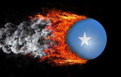 Flag with a trail of fire and smoke - Somalia - stock illustration