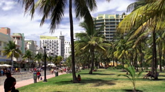 Miami Beach Art Deco District at the Ocean Drive from Lummus park. Stock Footage