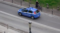 Aerial shot of emergency Police Car patrol on Venice streets Stock Footage