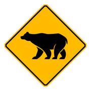 traffic sign wildlife bear - stock illustration