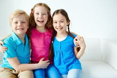 Affectionate kids - stock photo