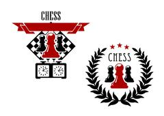 Chess emblems with pawns, chessboard and game clock - stock illustration