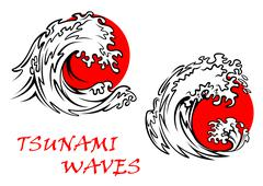 Tsunami waves with red sun behind Piirros
