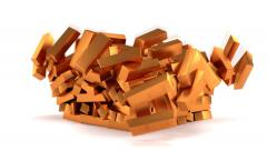 Animated falling bars of copper against white background 2 1080p Stock Footage