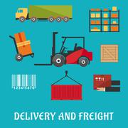 Delivery and freight flat infographic Stock Illustration