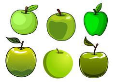 Fresh green apples fruits with glossy skin Stock Illustration