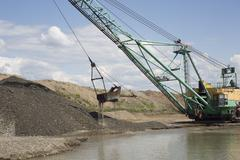 Career dredge on extraction of gravel Stock Photos