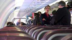 Commuter aircraft passengers getting ready for take off Stock Footage