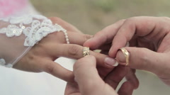 He Put the Wedding Ring on Her Stock Footage