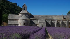 Senanque Abbey in Provence, summer and blooming lavendula Stock Footage