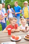 Kids eating - stock photo