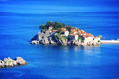 Sveti Stefan island near city of Budva, Montenegro on Adriatic coast. Stock Photos