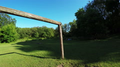 Wooden football goals Stock Footage