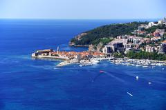 Aerial view of Budva, Montenegro on Adriatic coast. Stock Photos