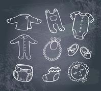 Infant clothes Icon set - stock illustration