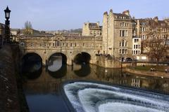Poultney Bridge over River Avon - Bath - England - stock photo