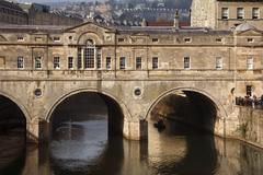 Poultney Bridge over the River Avon - Bath - England - stock photo