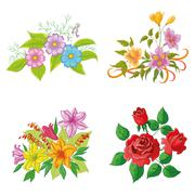 Cultivated flowers, set Stock Illustration