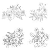 Cultivated flowers, outline, set Stock Illustration