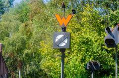 Old railway signal. Stock Photos