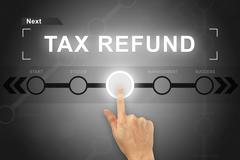 Hand clicking tax refund button on a screen interface Stock Photos