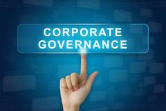Hand press on corporate governance or CG button on touch screen Stock Photos