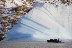 Adventure tourists - Scoresbysund - Greenland - stock photo