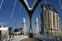 Millennium Bridge and Lowery Centre in Manchester - England Stock Photos