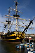 Old sailing ship in Whitby Harbor - England - stock photo