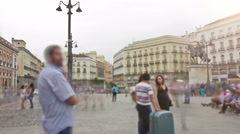 "The Puerta del Sol (Spanish for ""Gate of the Sun""). Timelapse. Madrid, Spain. Stock Footage"