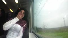 Sleepy Woman  on train trip during movement. 4k uhd stock footage Stock Footage