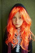 Girl in wig - stock photo