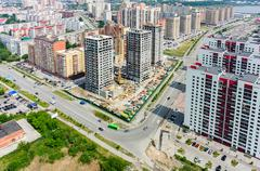 Residential distrct in Tyumen. Russia - stock photo