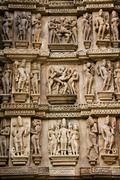 Erotic Carvings - Khajuraho - India - stock photo