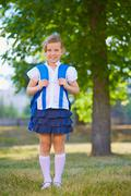 Schoolchild with rucksack - stock photo
