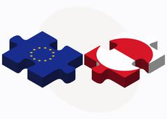 Stock Illustration of European Union and Greenland Flags in puzzle isolated on white background
