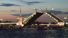 St. Petersburg. Opening of Palace Bridge in the white night Stock Footage