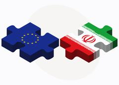 Stock Illustration of European Union and Iran Flags in puzzle