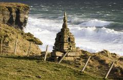 Rough seas near Brough Head - Scotland - stock photo