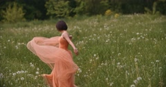 Beauty Romantic Girl Outdoors. Stock Footage