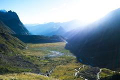 Dawn in Val Veny - stock photo