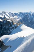 Mont Blanc mountaineers - stock photo
