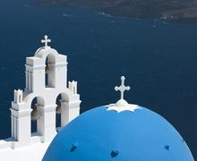 Blue Domed Church on Santorini - Greece Stock Photos