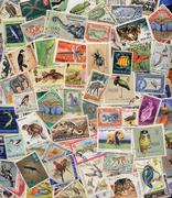 Postage Stamps of Animals, Birds, Insects and Fish - stock photo