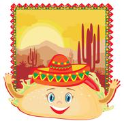 Funny Tacos Character , Mexican frame card Stock Illustration
