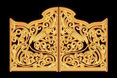 Beautiful shiny iron ornament gates - stock illustration