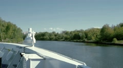 View from ship at shore covered with trees in Central Russia Stock Footage